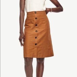 Ann Taylor Linen High Waisted Camel Button Skirt